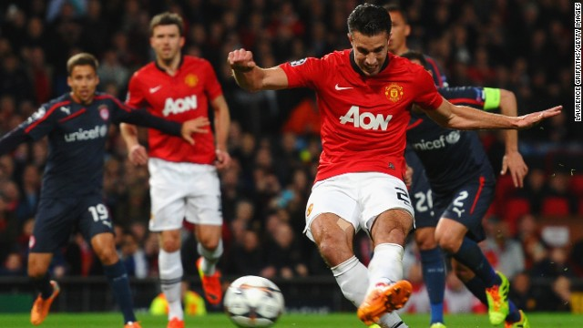 Van Persie got the ball rolling for United when he drilled home a penalty in the 25th minute.