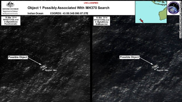 Satellite imagery provided by the Australian Maritime Safety Authority on Thursday, March 20, shows debris in the southern Indian Ocean that could be from Flight 370. The announcement by Australian officials that they had spotted something raised hopes of a breakthrough in the frustrating search.<!-- --> </br>