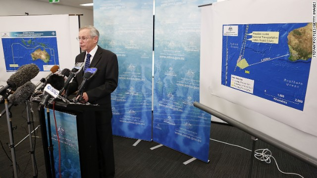 The Australian Maritime Safety Authority's John Young speaks to the media in Canberra, Australia, on March 20 about satellite imagery.