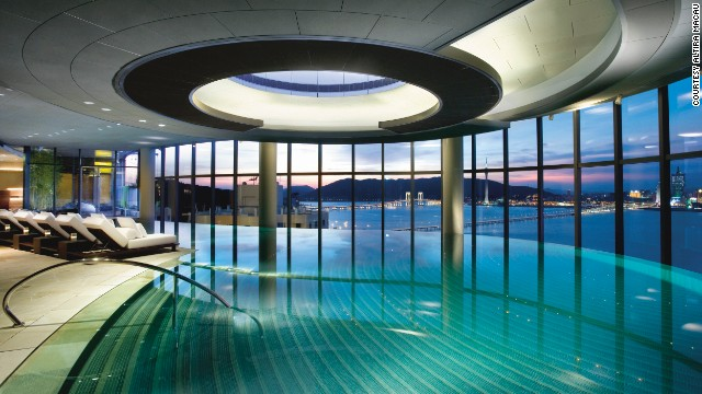 The indoor infinity pool at Altira Macau offers sweeping views of the Macau peninsula.