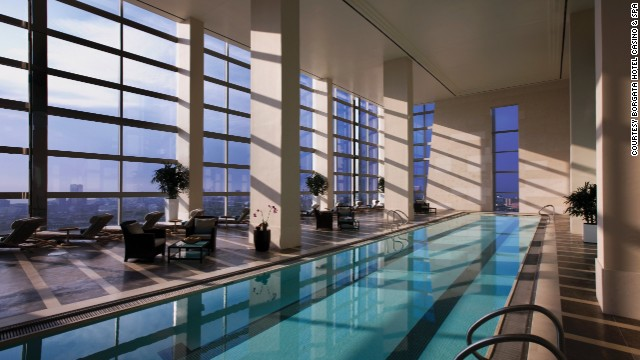 An 80-foot indoor lap pool is part of the Immersion spa at The Water Club at Borgata in Atlantic City, New Jersey.