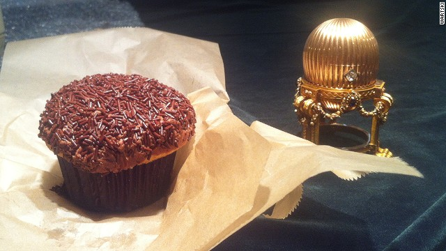 The Third Imperial Egg as seen by Faberge expert Kieran McCarthy for the first time in the United States. The cupcake beside it demonstrates the egg's delicacy.