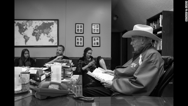 Photojournalist Anthony S. Karen gained rare access to the Westboro Baptist Church in 2008 and 2011. Here Pastor Fred Phelps is seen in his home office in 2011. Phelps founded the Phelps Chartered Law Firm in 1964 and had several notable civil rights cases. He was disbarred in Kansas in 1979.