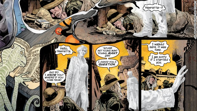 Detail of spread on pages 2 and 3. Here Daniel enters the dream of Mad Hettie.