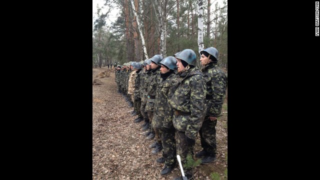 "NEAR KIEV, UKRAINE: ""Fresh recruits to Ukraine's National Guard Reserves (March 20). All of them are former anti-government militiamen from Kyiv's Maydan. They've all signed up within the last week as part of a mass recruitment program announced by the interim Ukrainian government."" - CNN's Ivan Watson. WATCH THE INSTAGRAM VIDEO from Ivan of a curious ""hand grenade"" simulation exercise performed by new Ukrainian National Guard reserve recruits. Follow Ivan on Instagram at instagram.com/ivancnn."