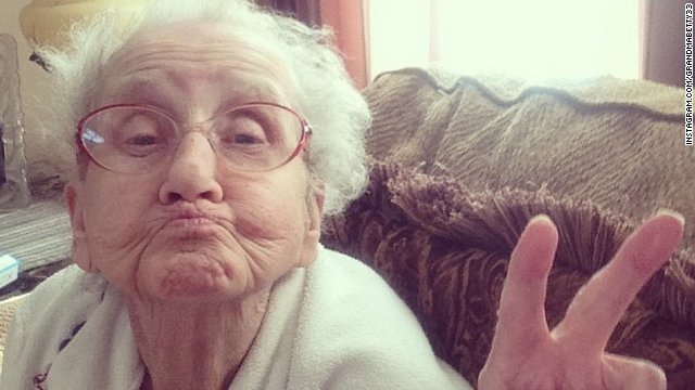 Even at 80 years old, it didn't take long for Grandma Betty to figure out duck face and peace signs.