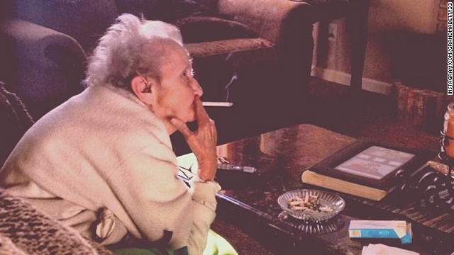 Grandma Betty was recently diagnosed with lung cancer. Hasn't stopped her from enjoying her cigs.