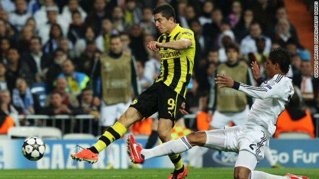 """<strong>Real Madrid v Borussia Dortmund</strong>: Real will be hoping to take advantage of the absence of Dortmund striker Robert Lewandowski (center) in the first leg in Madrid. The prolific Poland international netted all four Dortmund's goals last in the second leg loss in 2013, but will miss the match through suspension. Dortmund's chief executive, Hans-Joachim Watzke, admitted: """"We would have liked to get someone else."""""""