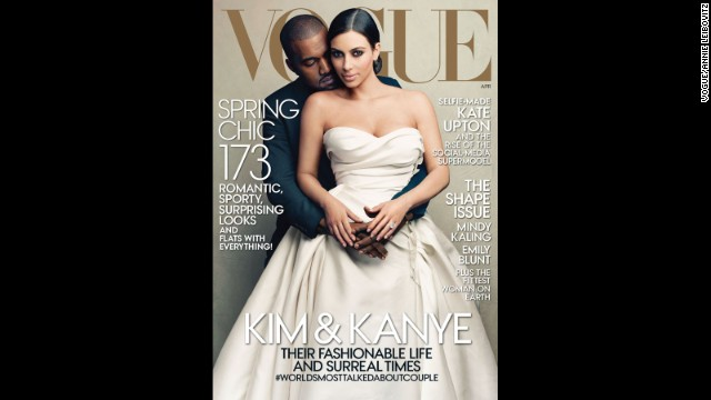 Kim Kardashian and Kanye West appear on the cover of Vogue magazine's April 2014 issue.