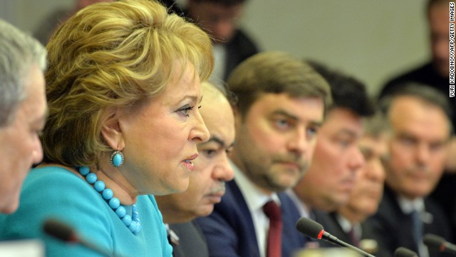 Valentina Matviyenko is the speaker of the Federation Council. Effectively No. 3 on Russia's power list, and one of the highest-ranking women in Russian politics. Matviyenko is a firm supporter of Putin and rose to power as the governor of St. Petersburg, Putin's home town.