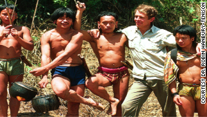 Dr. Robin Hanbury-Tenison with Penan people in 1976 in Malaysian Borneo.