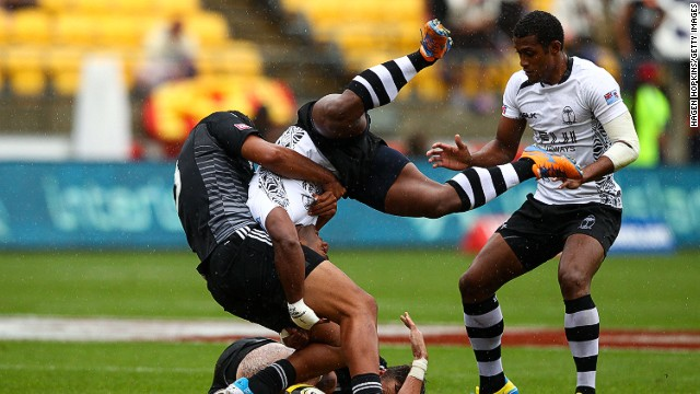 Bosh! Ioane tackles Jona Tuitoga during the pool B match between New Zealand and Fiji in Wellington.