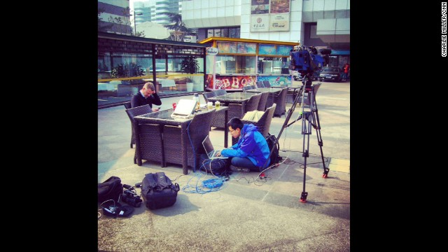 """Set up for 'live' outside a hotel near Beijing airport where family and friends of passengers aboard Malaysian flight 370 are awaiting news of their loved ones."" By CNN's Charlie Miller, March 8. Follow Charlie on Instagram at instagram.com/cnncharlie."