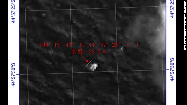 A satellite image released by China shows an object in the southern Indian Ocean.