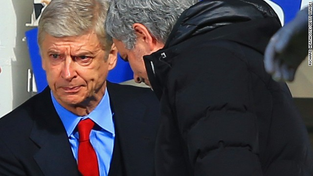 Arsenal boss Arsene Wenger (left) and Jose Mourniho shared a frosty handshake before kick-off at Stamford Bridge. It proved to be a miserable day for the Gunners boss on the occasion of his 1,000 game in charge at the club.