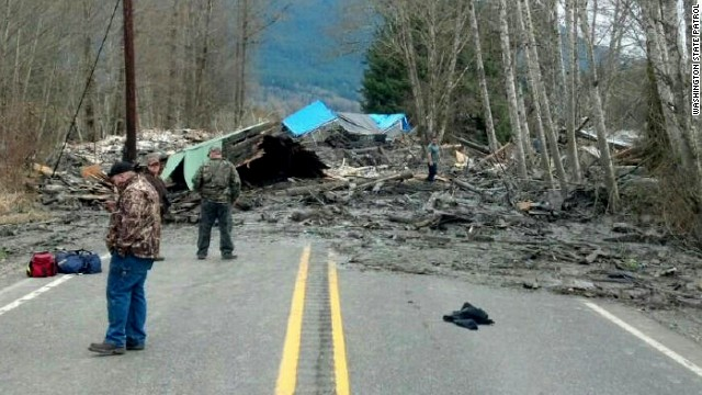 A landslide in Washington state near the small town of Darrington left a muddy debris field that blocked State Road 530 and included remnants of six homes.