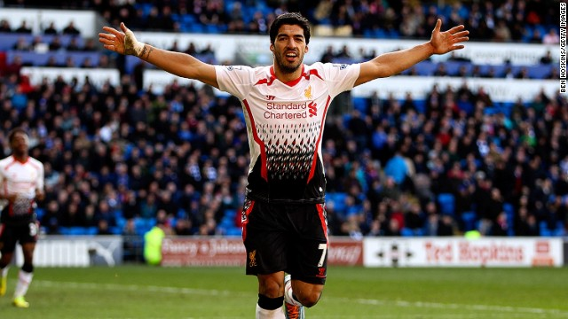 Luis Suarez bagged a hat-trick in Liverpool's 6-3 demolition of Cardiff City. The Uruguayan striker has now scored 28 league goals this season.