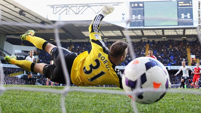 Southampton's Artur Boruc had no chance on Tottenham's winning goal in the Premier League on Sunday.