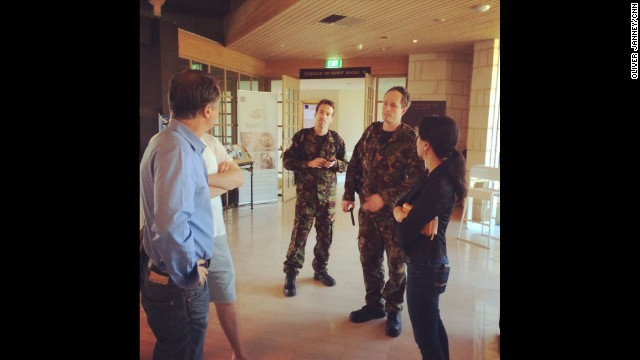 """CNN's Andrew Stevens chatting with Kiwi airmen in the lobby of our hotel. They're here to service the search aircraft."" By CNN's Oliver Janney in Perth, Australia, on March 22. Follow Oliver on Instagram at instagram.com/oliverjcnn."