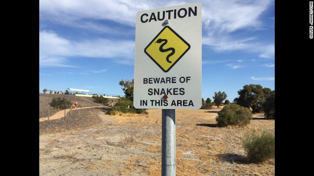 """Sign at a viewing area outside Perth International airport, where I'm staking out a U.S. Navy P-8."" By CNN's Oliver Janney, March 23. Follow Oliver on Instagram at instagram.com/oliverjcnn."