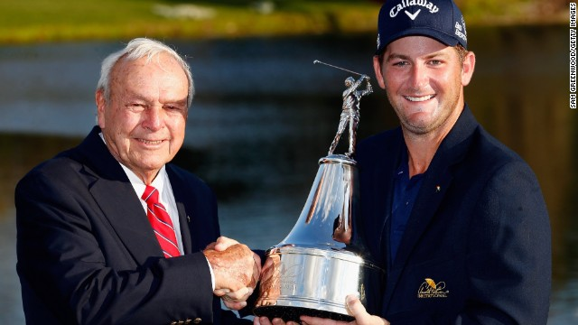 Matt Every shakes hands with Arnold Palmer after winning the Arnold Palmer Invitational on Sunday.