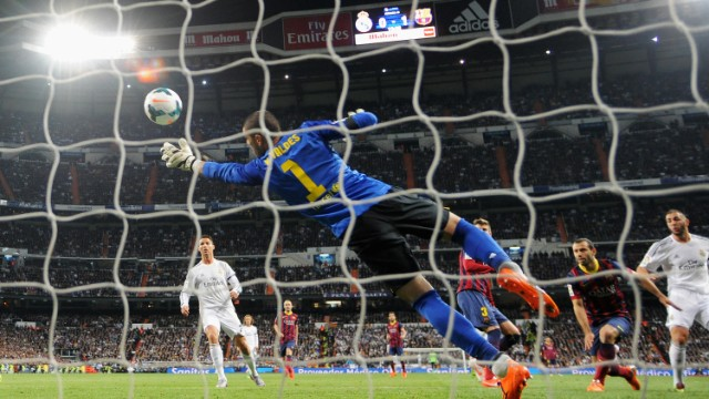 Real's response was emphatic. Winger Angel di Maria and striker Karim Benzema twice combining to turn the match on its head. First, Di Maria crossed for Benzema to plant a firm header beyond Victor Valdes (pictured). Moments later the duo did it again, Benzema taking one touch before volleying beyond Valdes following another fine cross from Argentina's Di Maria.