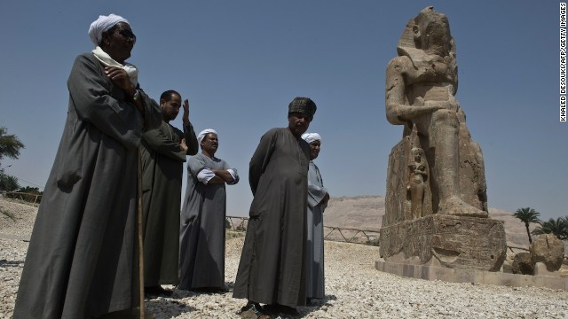 The new statues join a pair of already famous giants known as the Colossi of Memnon -- two 16-meter-high images of King Amenhotep III seated on his throne.