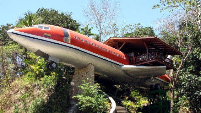 A Boeing 727 fuselage houses a two-bedroom suite at the Costa Verde hotel in Costa Rica.