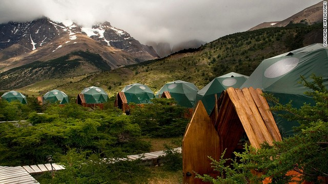 The domes of EcoCamp Patagonia in Chile are designed to mimic tradition nomad dwellings.