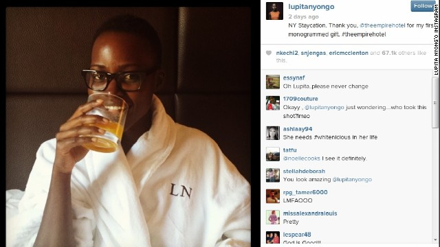 Actress Lupita Nyong'o posted a photo of herself without makeup lounging in a New York hotel in March.