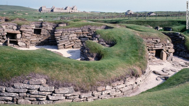 The 5,000-year-old Neolithic village of Skara Brae in the Orkney Islands of Scotland was uncovered after a powerful sandstorm blew through the town in the 1800s.