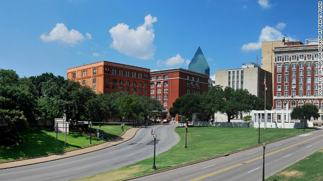 "Lee Harvey Oswald shot John F. Kennedy from the sixth floor of the former Texas School Book Depository -- now the Sixth Floor Museum dedicated to the assassination and legacy of JFK. A white ""X"" marks the spot where the bullets entered the president in November 1963."