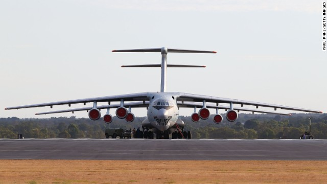 Two giant Chinese Air Force Ilyushin Il-76 aircraft sit on the tarmac at Pearce air base on Saturday, March 22.