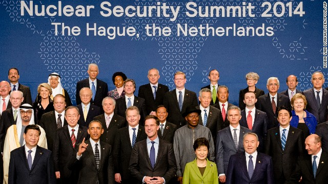 Obama, gesturing in the bottom left, joins other world leaders for a group photo on the last day of the Nuclear Security Summit in The Hague, Netherlands, on Tuesday, March 25. The summit was the primary reason for Obama's trip.