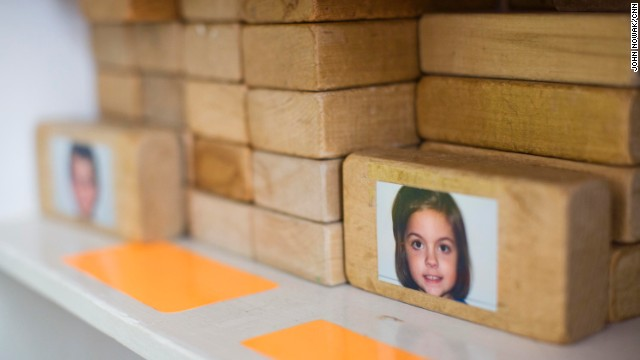 Some younger students at Hess Academy use blocks with their photos on them, sometimes for charting activities and answering daily questions, and sometimes just for building.
