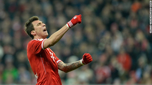Croatian striker Mario Mandzukic has been top scorer for Bayern in the league this season with 17 goals so far.