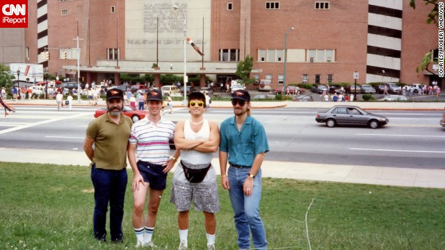 "<strong>Baltimore Memorial Stadium (1990):</strong> Robert Ondrovic, far right, poses with friends on an early leg of their decades-long ""Dead Stadium Tour."" The Baltimore Orioles played here from the time they were in the Minor League in 1950 until 1991. The Orioles then moved to Camden Yards."