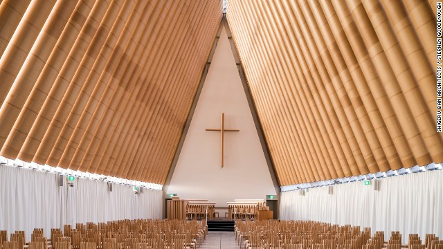 "When disaster strikes, Japanese architect Shigeru Ban springs to action. Over the past two decades he has used recyclable materials to craft structures in disaster zones. Among them is this ""Cardboard Cathedral"" in Christchurch, New Zealand."