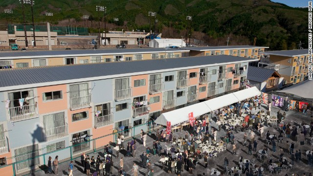 The 2011 earthquake and tsunami leveled the town of Onagawa, killing at least 300 and displacing thousands. Ban installed 1,800 temporary container houses by stacking 20-ft. shipping containers.