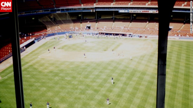 "<strong>Cleveland Municipal Stadium (1993): </strong>The Indians played here beginning in 1932. It was one of the earliest multipurpose stadiums and with nearly 80,000 seats at one point, ""it was a huge, huge stadium,"" Ondrovic said. ""Even this photograph can't really describe how far the game looked. ... You might as well sit at home."" It was demolished in 1996."