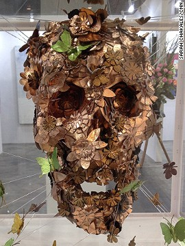 A bronze skull on display at the recent Affordable Art Hong Kong fair, where no piece of art could be priced at more than HK$100,000 (roughly $13,000).