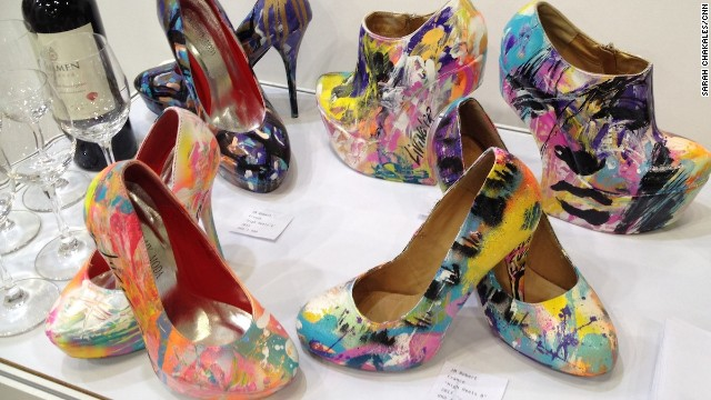 A selection of painted high heel shoes by France artist JM Robert for sale at the Affordable Art Hong Kong fair. Each pair was sold separately -- the ones in the front right went for HK$4,500 ($580).