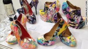 Painted high heel shoes by France artist JM Robert at the Affordable Art Hong Kong fair. The pair front right sold for HK$4,500 ($580).
