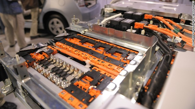 The inside of a lithium-ion battery used in a Prius plug-in hyrbrid car is on display.
