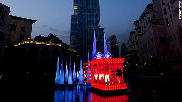 French artist Bibi has created a 98-foot long, illuminated dragon that lives in The Palace Downtown Dubai Lake. Made with recycled materials and lit with LEDs, the beast leaves a minimal carbon footprint.