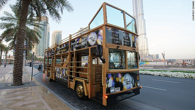 Dubai developers Emaar have sponsored the city's first Festival of Lights, along with a hop-on, hop-off bus to charter people around the various installations.