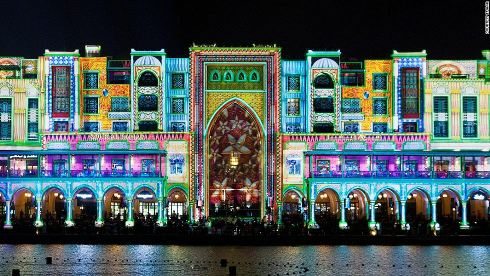 French composer and stage director Damien Fontaine projected a work of cinematic theater, in which two characters go in search of lost treasure, onto Dubai's Souk Al Bahar for the city's inaugural Festival of Lights.