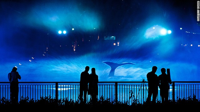 For Dubai's Festival of Lights, artist Catherine Garet created Mysticete, in which she projected video mapping on a screen of water. The technology allowed her to create what looks like a whale frolicking in Dubai Lake.
