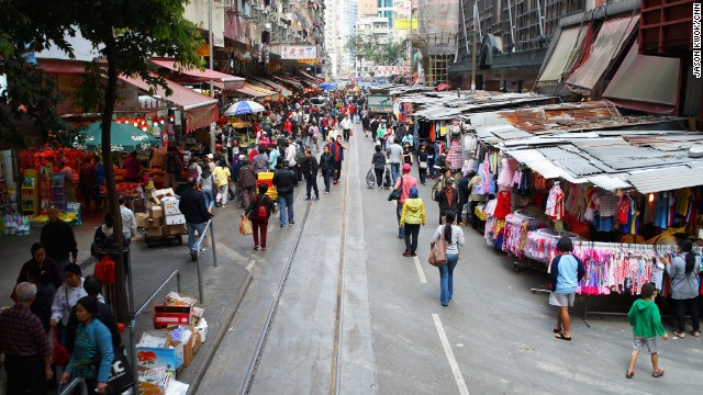 Any tram heading to North Point runs through Chun Yeung Street, which features one of the most interesting <a href='http://travel.cnn.com/hong-kong/shop/city-essentials/best-wet-markets-563207'>wet markets in Hong Kong</a>. The tram runs right through the middle of the market. This shot was taken from the front row seats on the tram's upper deck.