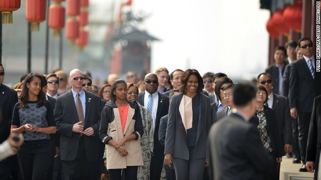 Michelle Obama has been on a week-long tour of China, accompanied by mom Marian Robinson, 76, and daughters Malia, 15, and Sasha, 12.